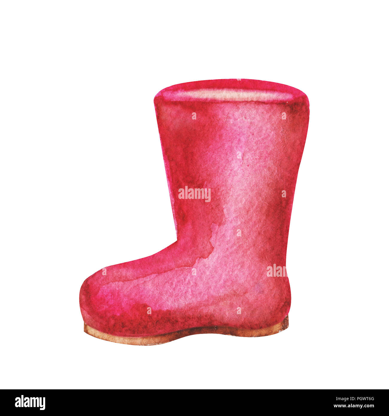 Hand drawn watercolor Illustration of red rubber boot isolated on white background. Painting for print and cards Stock Photo