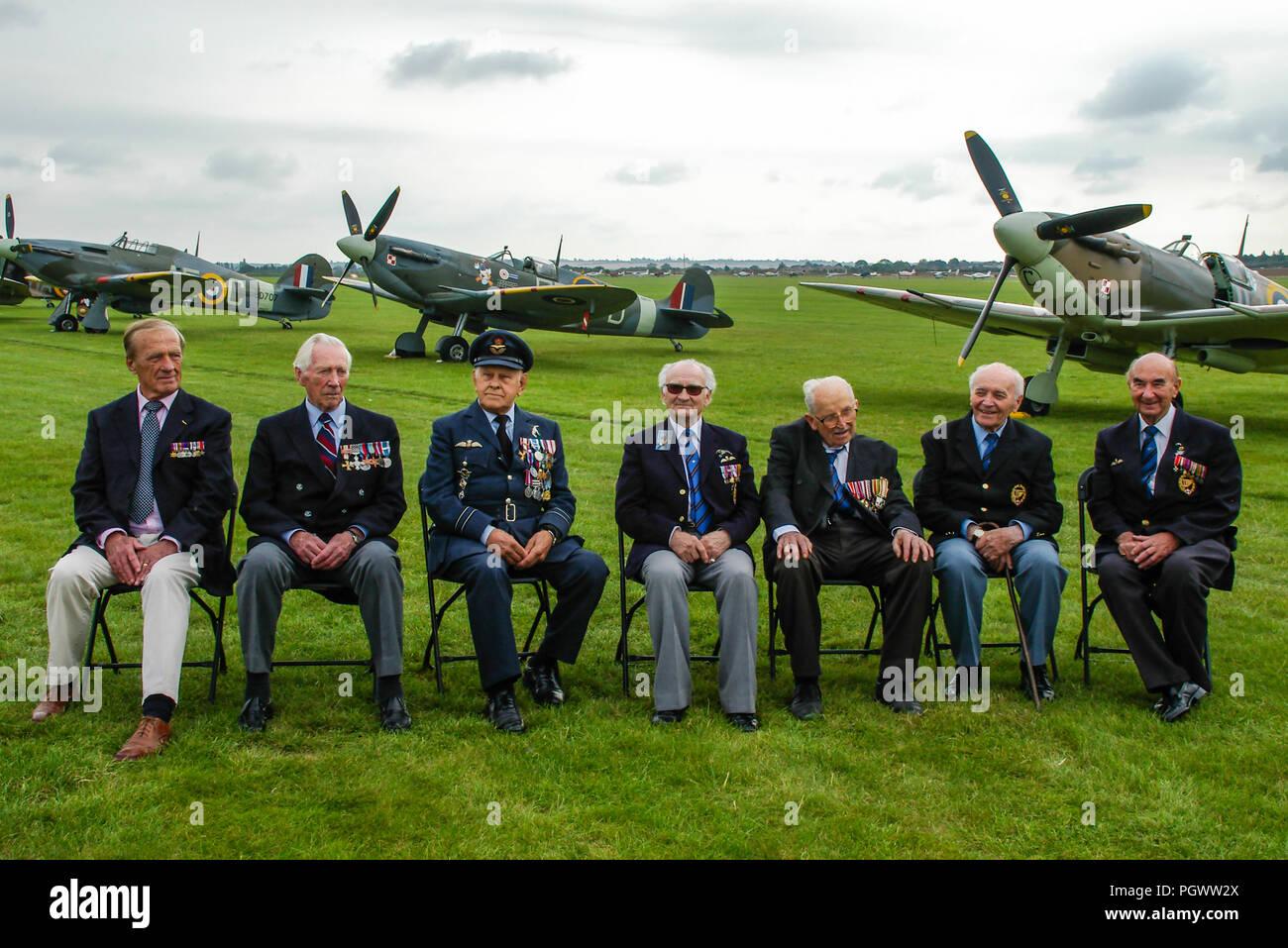 Tadeusz Andersz, Marian Jankiewicz, Franciszek Tomczak, Stefan Ryll, Mieczyslaw Sawicki, Adam Ostrowski, Jerzy Mencel. RAF wartime Polish pilots - Stock Image