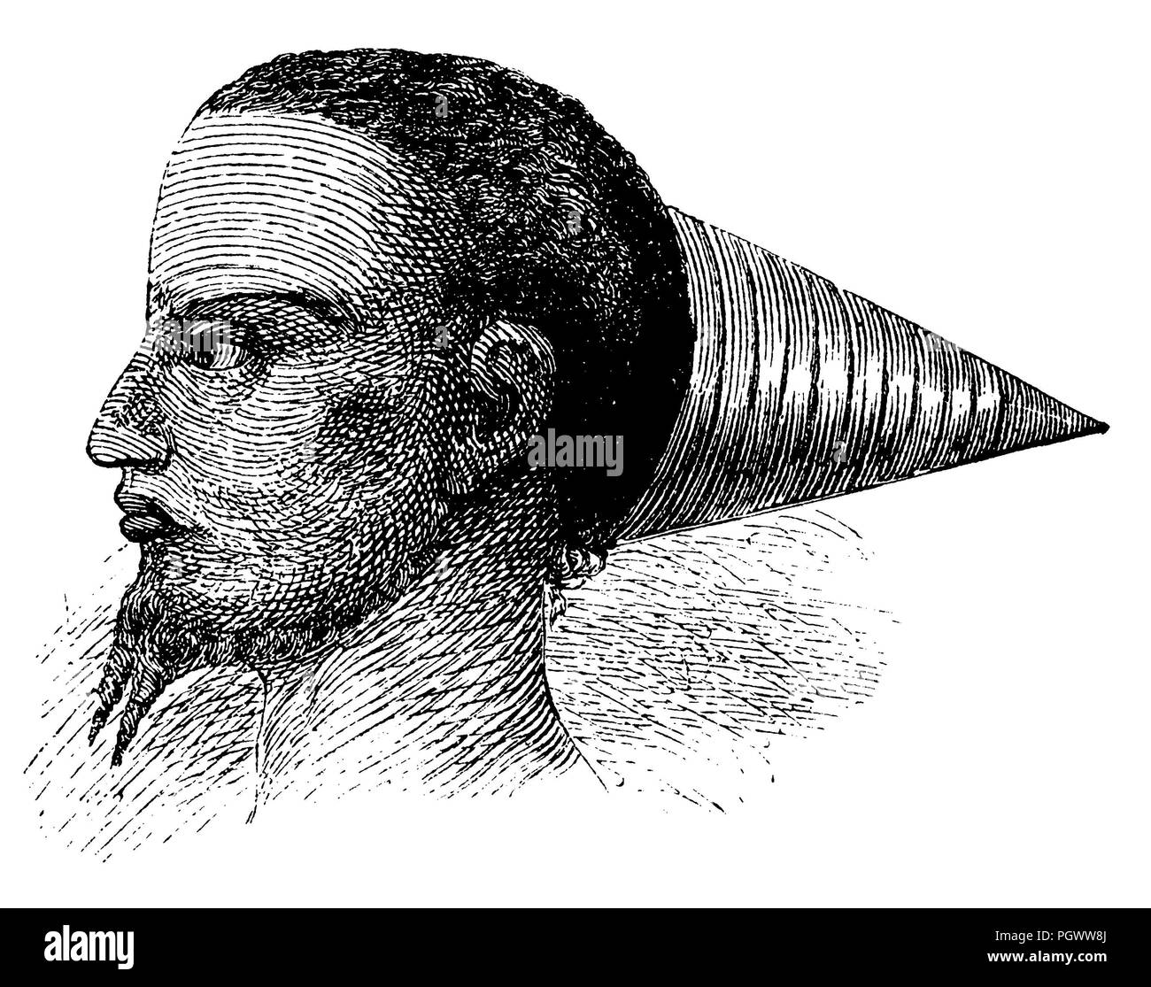Headdress of a Baschinji chief,   1868 - Stock Image
