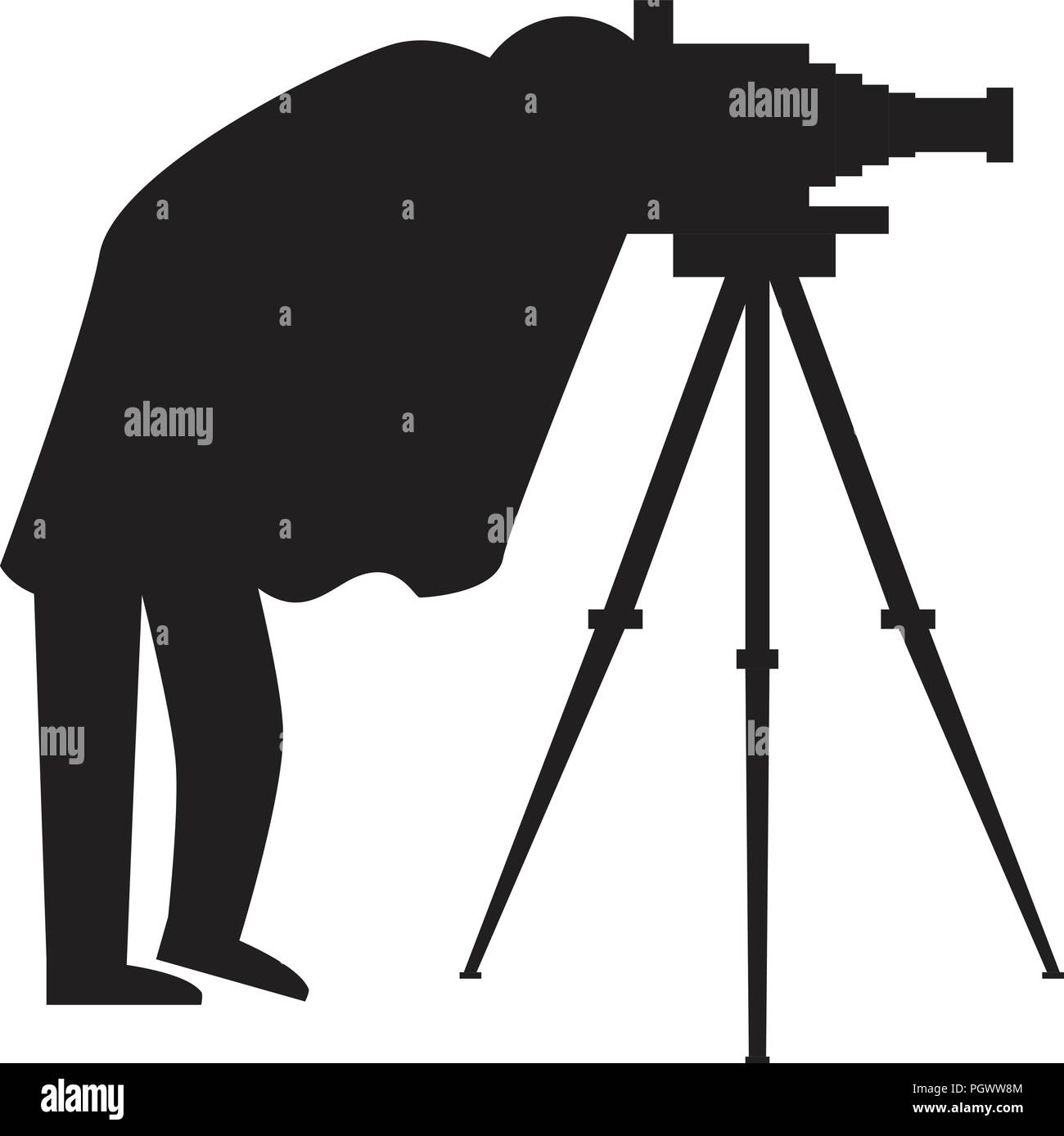 Vintage Photographer silhouette with antique camera and tripod. Vector illustration. - Stock Vector