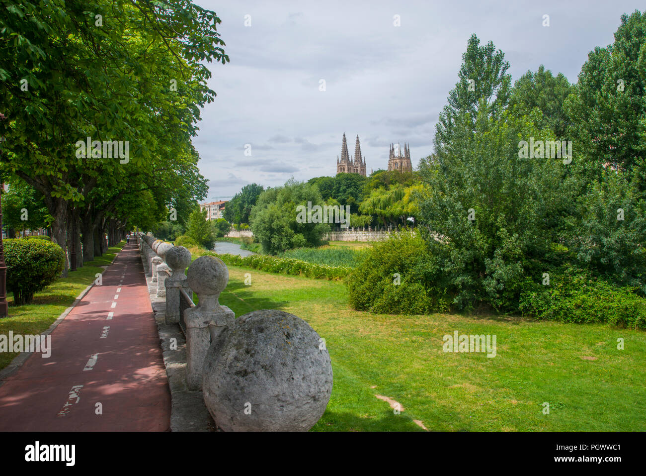 Bike lane and river Arlanzon. Burgos, Spain. - Stock Image