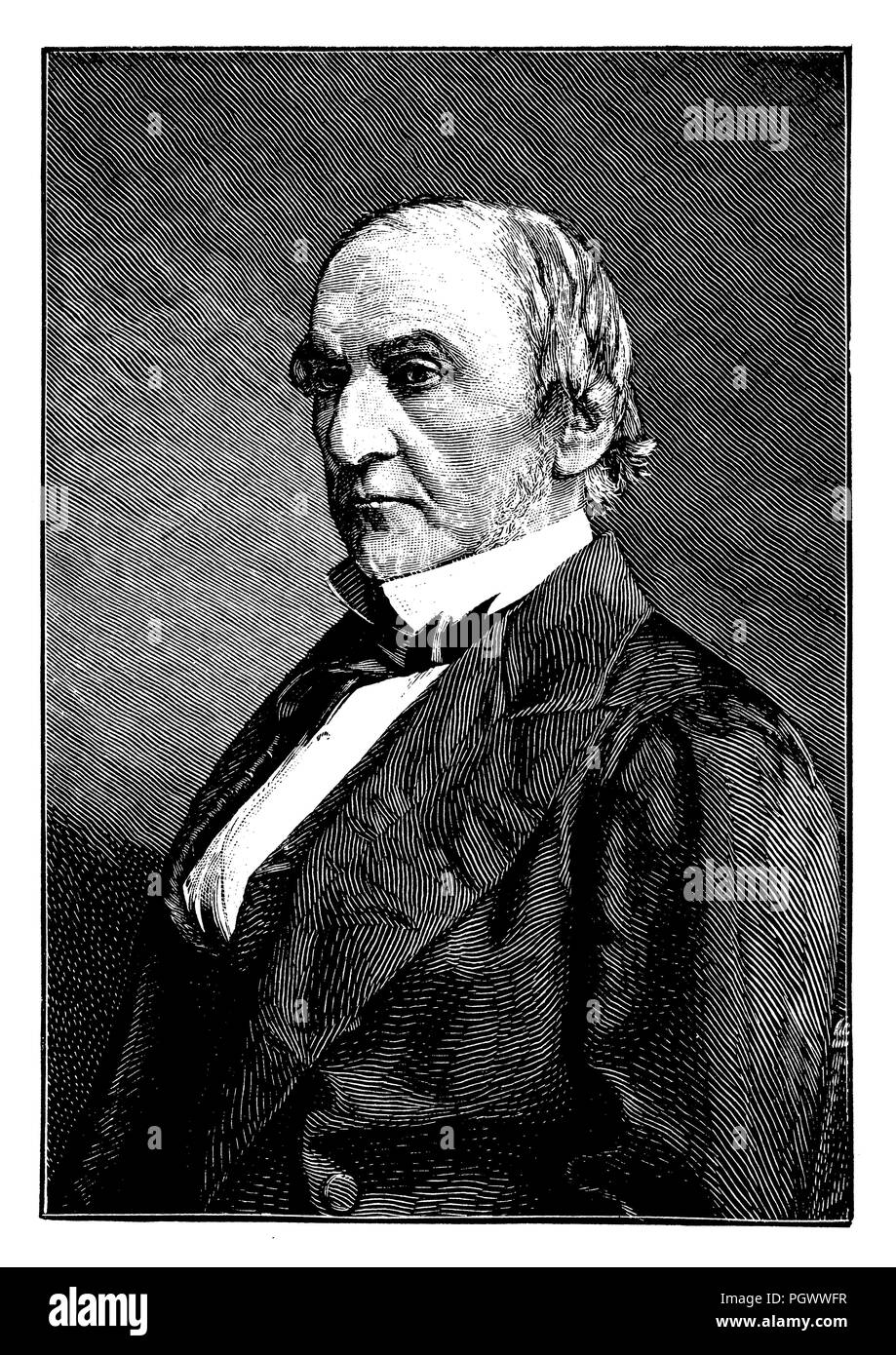 William Ewart Gladstone (born December 29, 1809 in Liverpool, † May 19, 1898 in Hawarden Castle), four-time British Prime Minister, Stock Photo