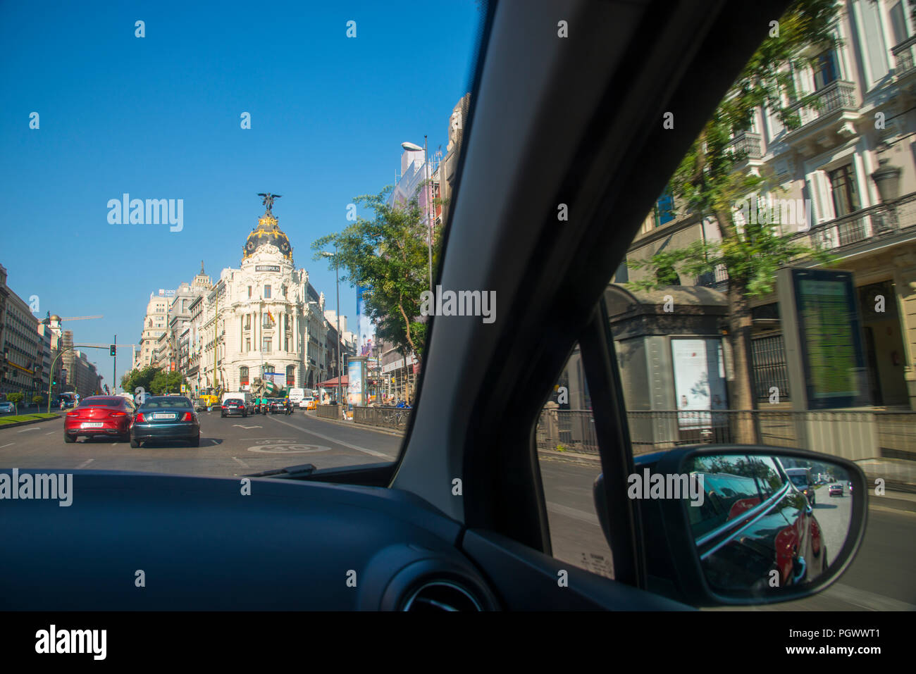 Alcala street viewed from inside a car. Madrid, Spain. Stock Photo