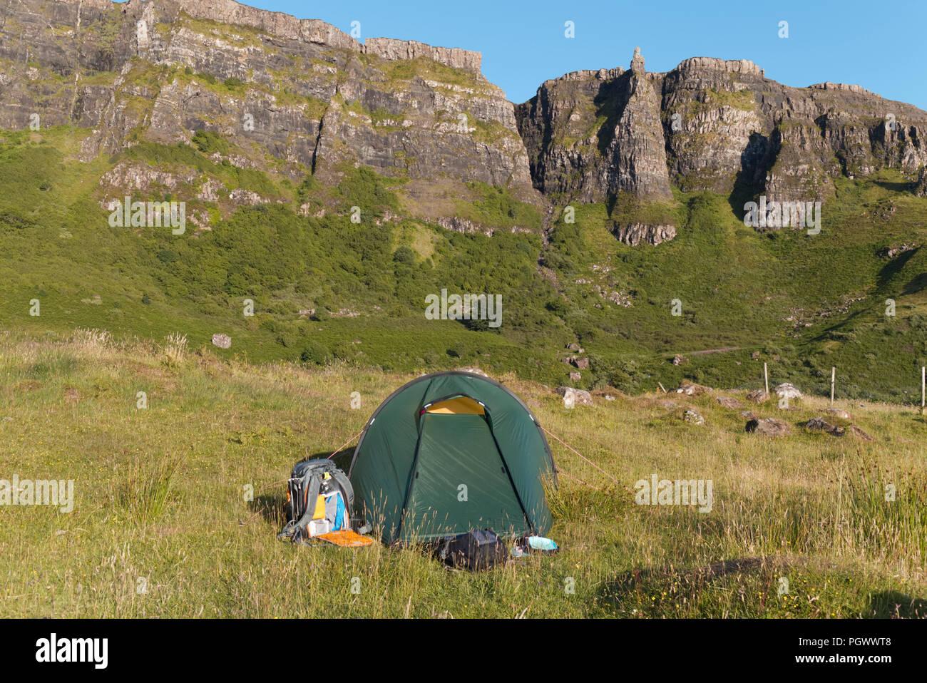 Wild camping on Isle of Eigg, Hebrides - Stock Image