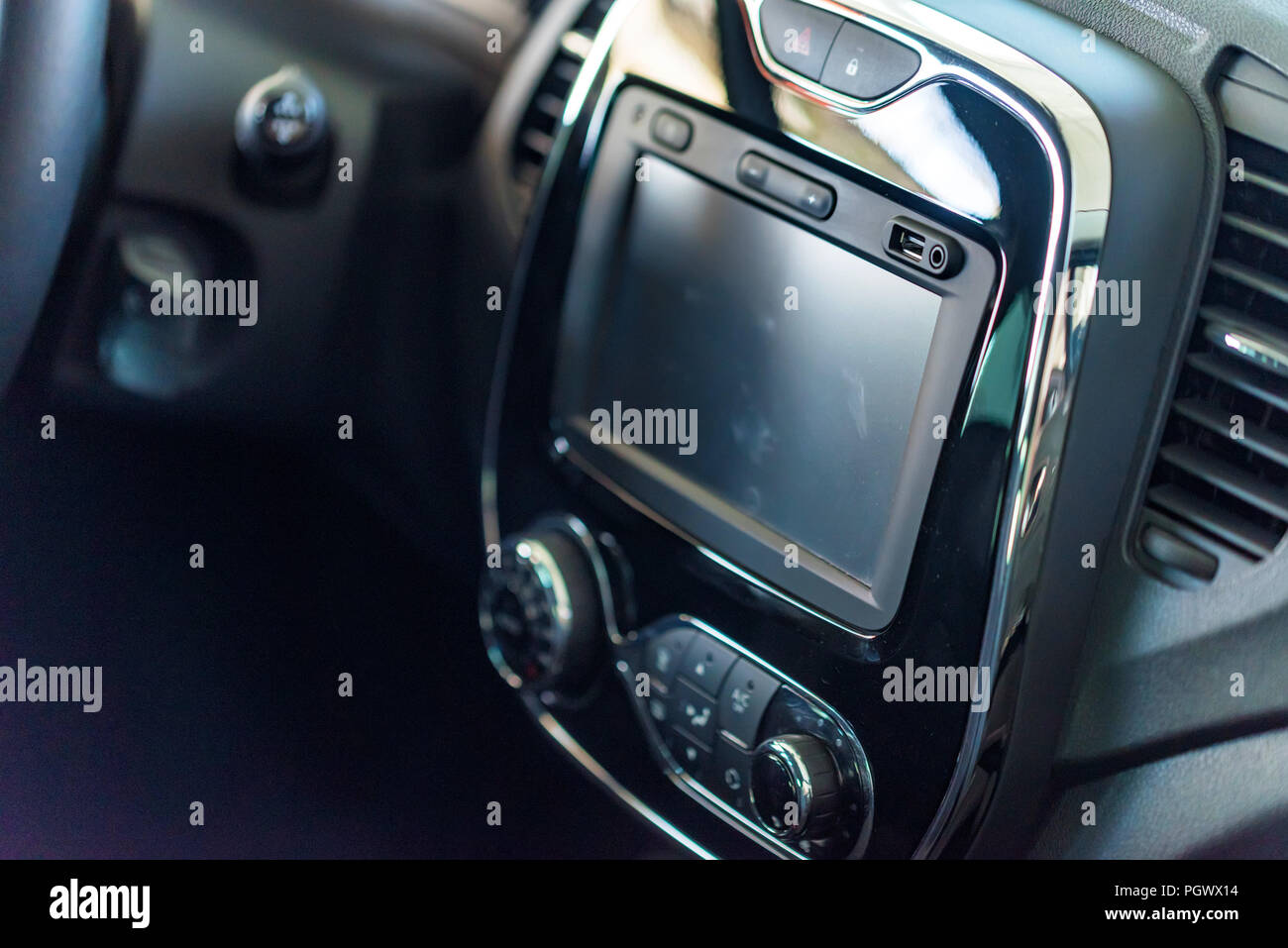 Multimedia system of modern car. Interior concept - Stock Image