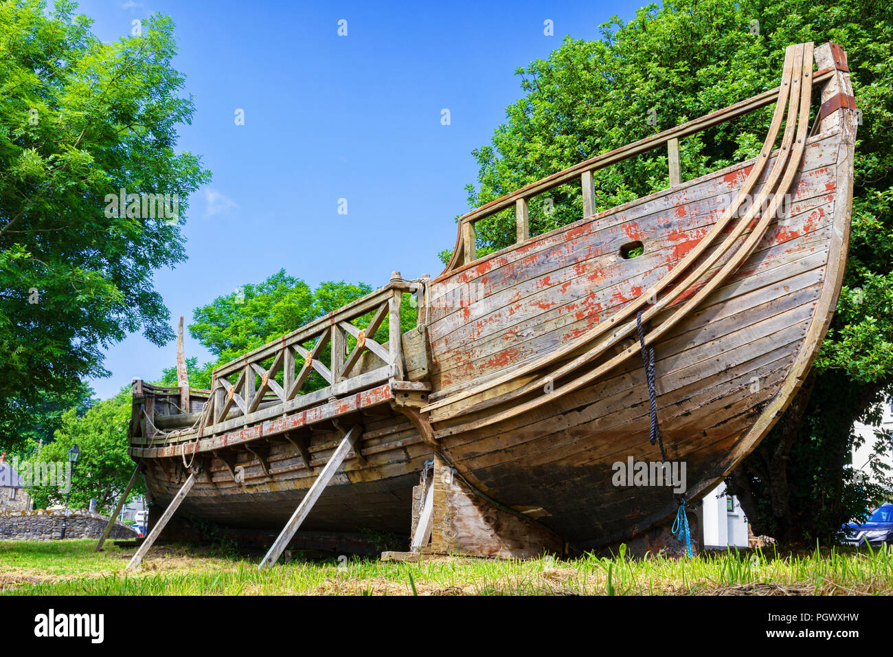 11 June 2018: Charlestown, Cornwall, UK - Greek Trireme Nomos, built for the film Clash of the Titans. - Stock Image
