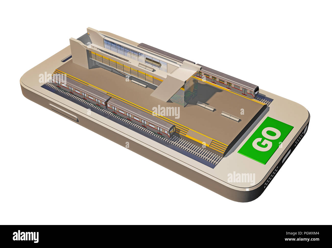 Metro station on the mobile phone screen. 3d rendering - Stock Image
