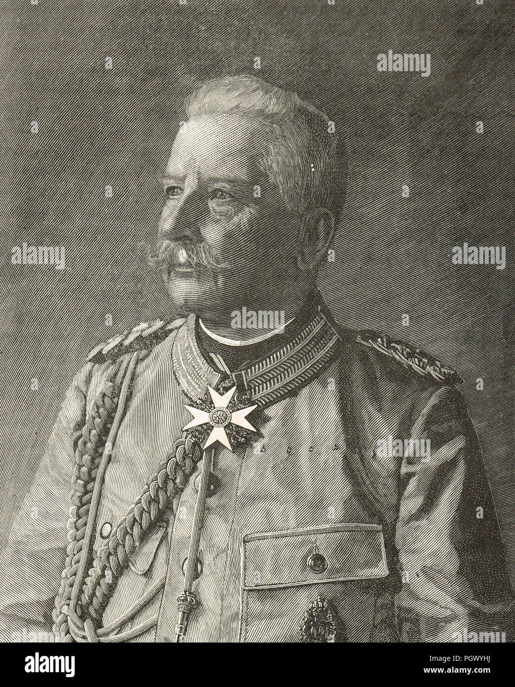 Count Alfred Ludwig Heinrich Karl Graf von Waldersee, Chief of the Imperial German General Staff, circa 1900 - Stock Image