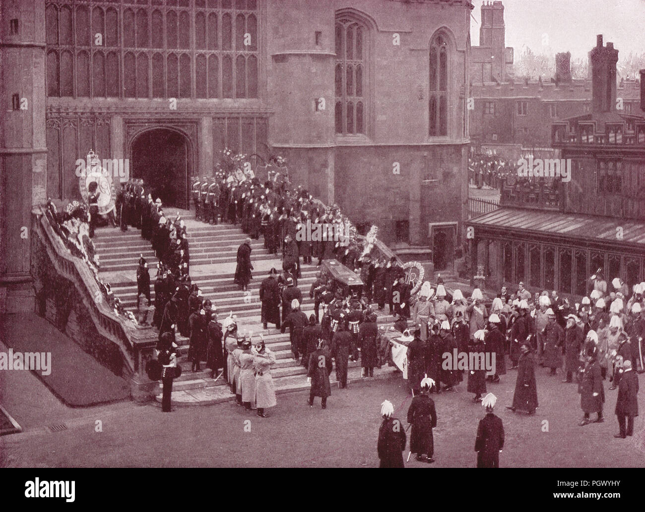 Funeral of Queen Victoria, 2 February 1901, carrying in of the Coffin, St George's chapel, Windsor Castle, Berkshire, England - Stock Image
