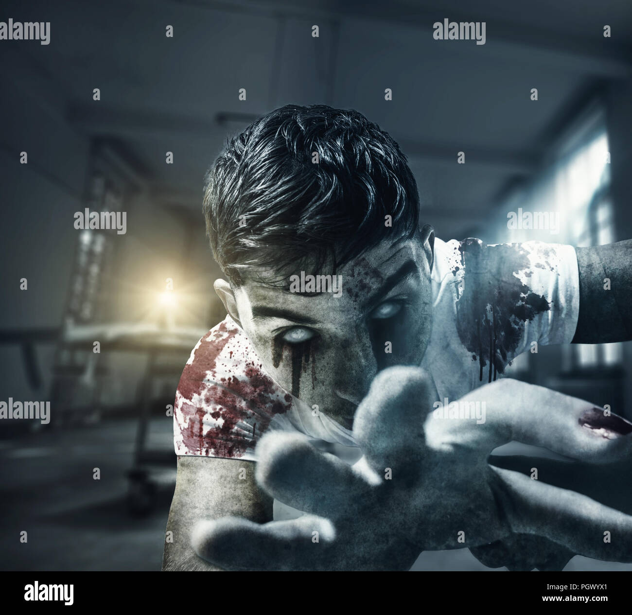 Horror Zombie Grab With Hand In Front Of Candle Light And Fog Light