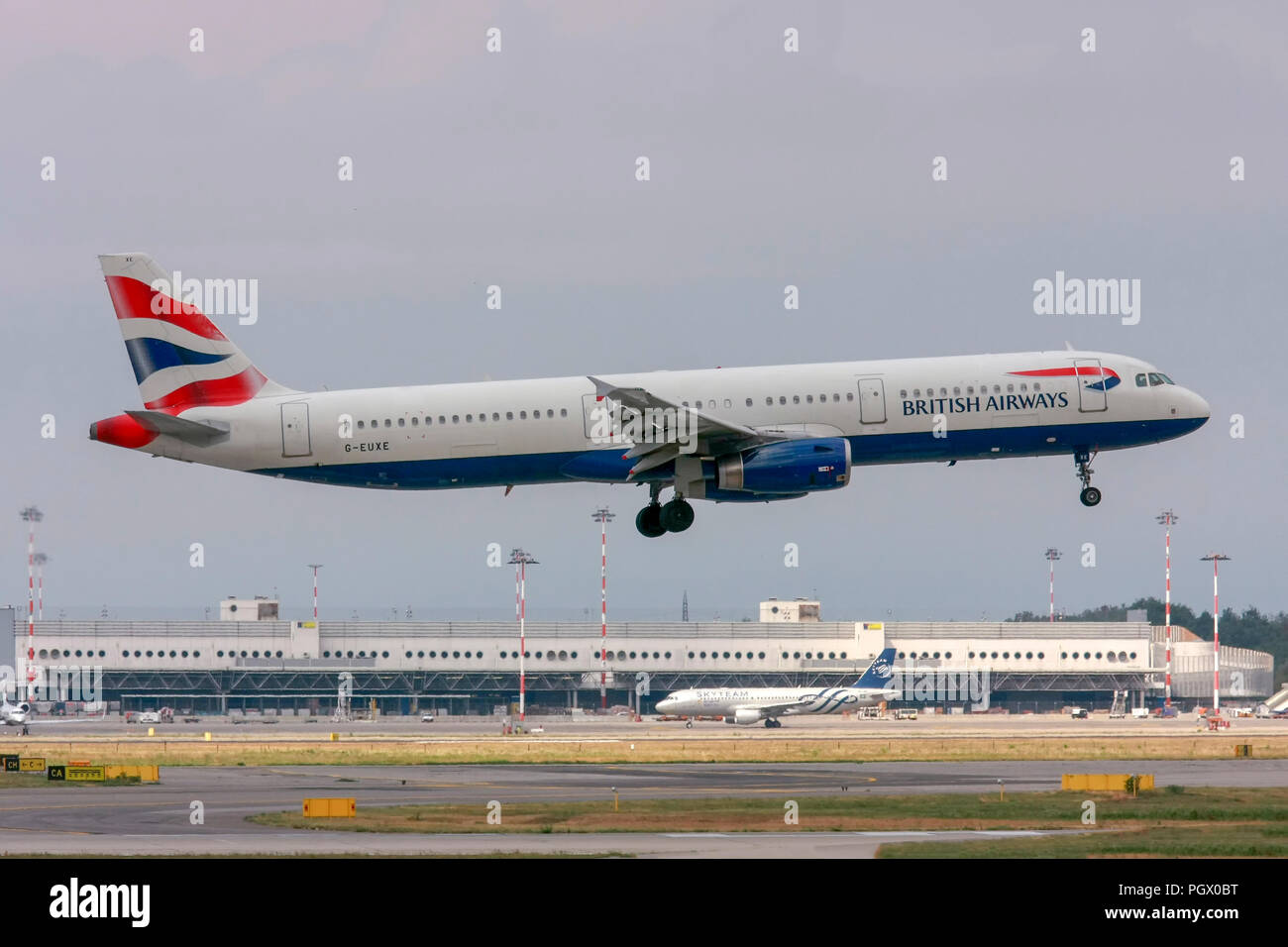 G-EUXE British Airways Airbus A321, Photographed at Malpensa (MXP / LIMC), Milan, Italy - Stock Image