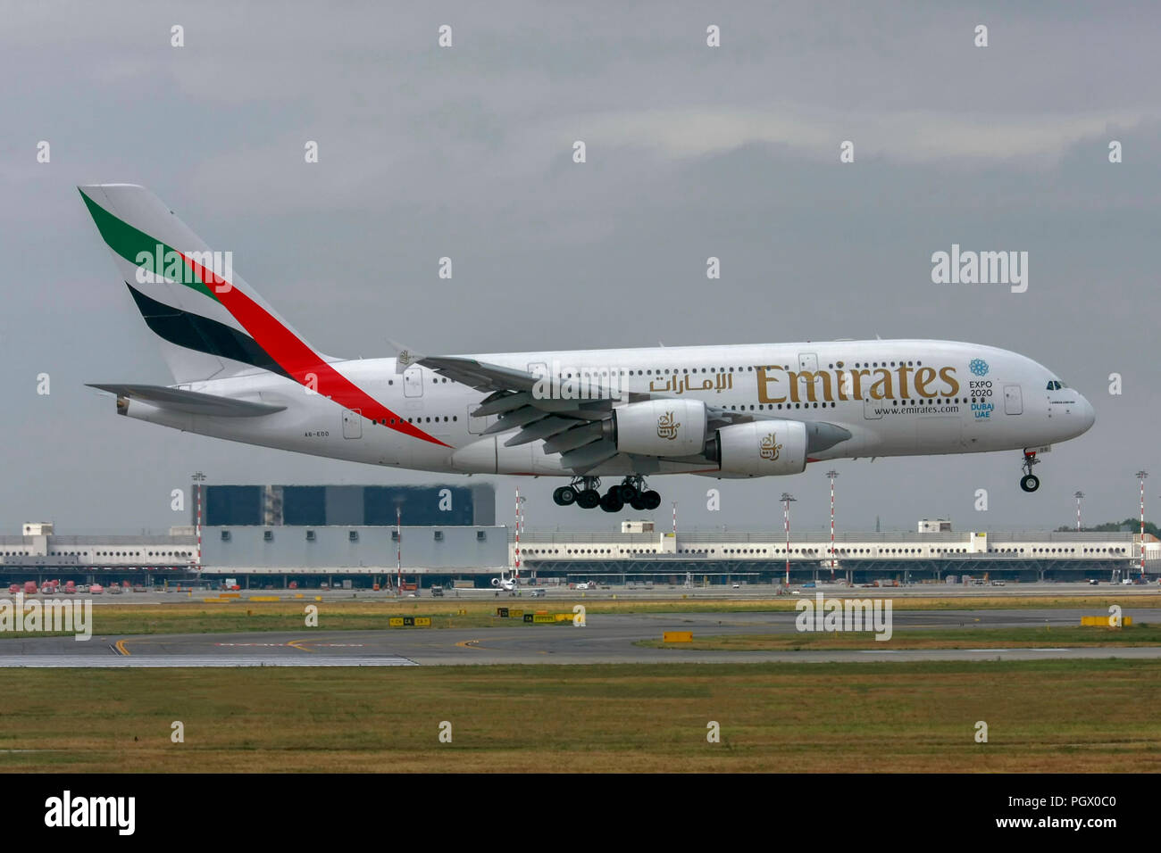 A6-EDO Emirates Airways Airbus A380-800 at Malpensa (MXP / LIMC), Milan, Italy - Stock Image