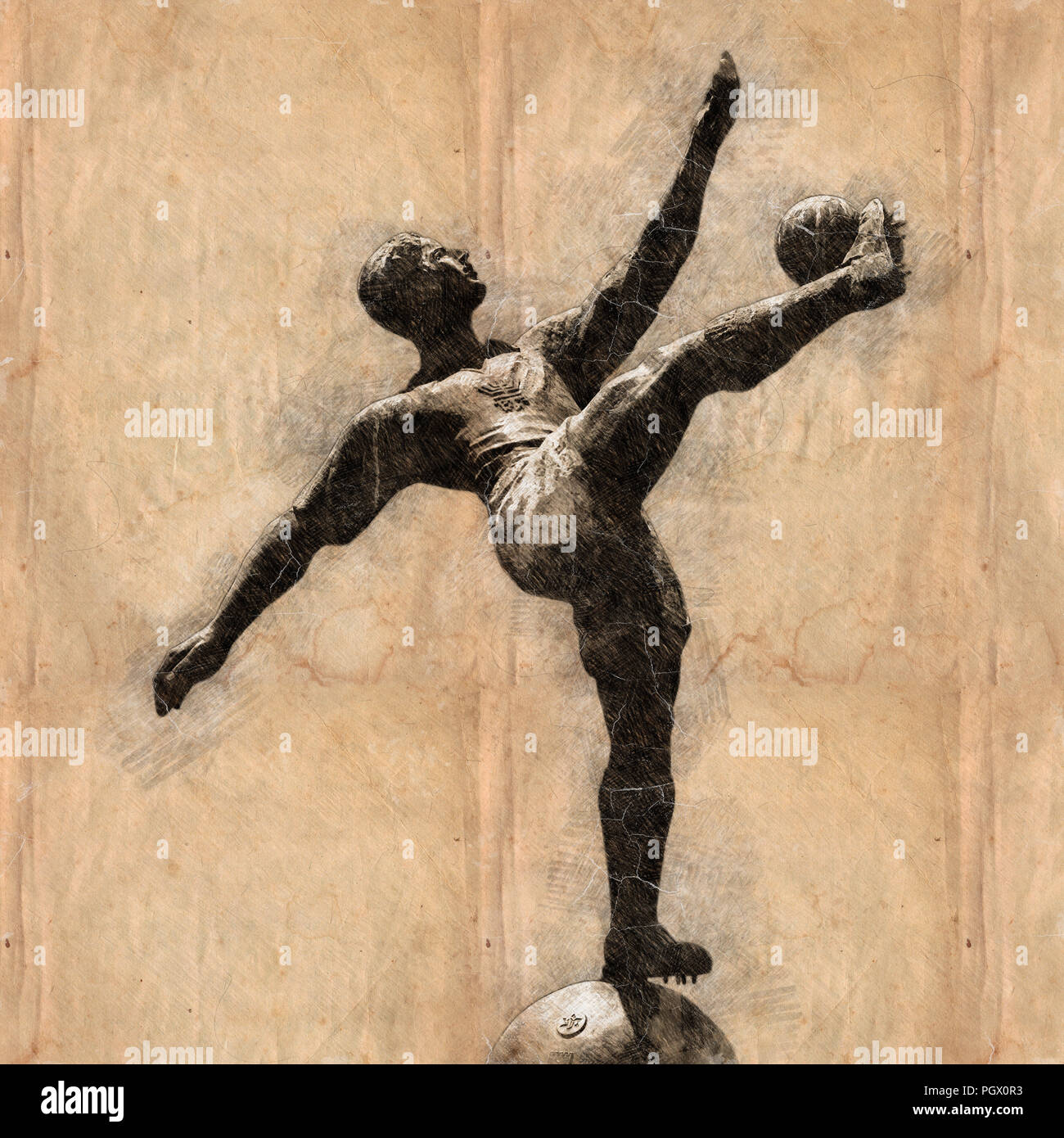 Digitally enhanced image of a statue of a football player in action - Stock Image