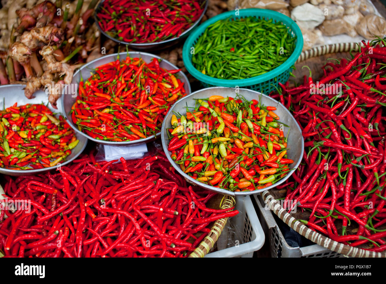 Fresh chillies for sale in a market on Bangka Island, Indonesia. - Stock Image
