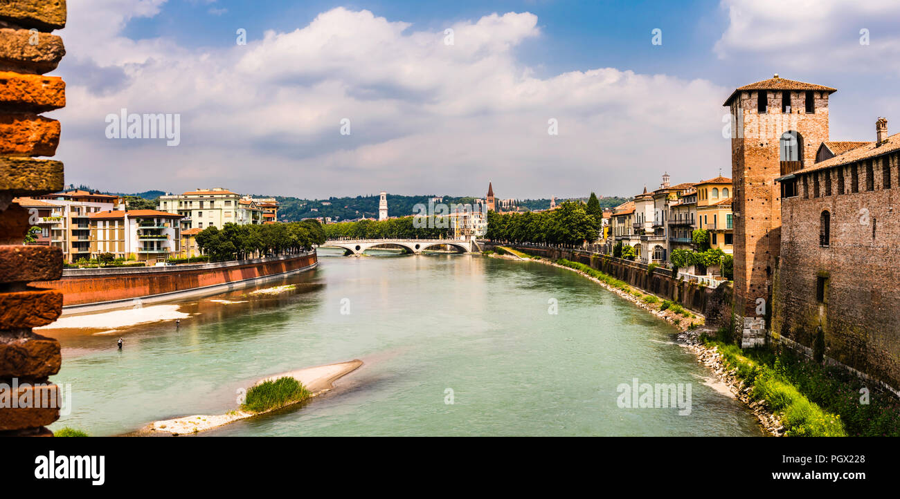 Panoramic view north from the Ponte Castelvecchio in Verona, Italy - Stock Image