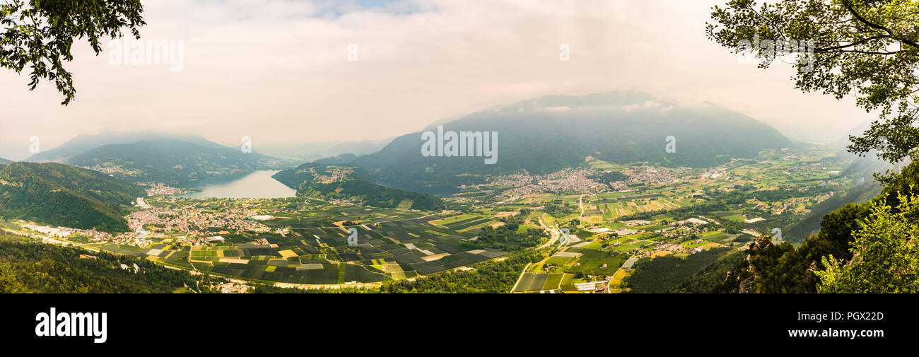 Panorama of two lakes at Levico Terme, Trentino, Italy - Stock Image