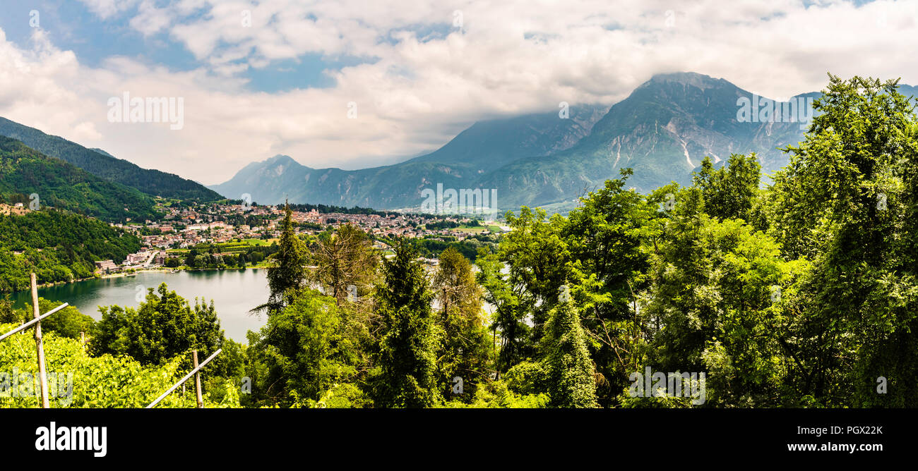 Panorama of Lago di Levico at Levico Terme, Trentino, Italy - Stock Image