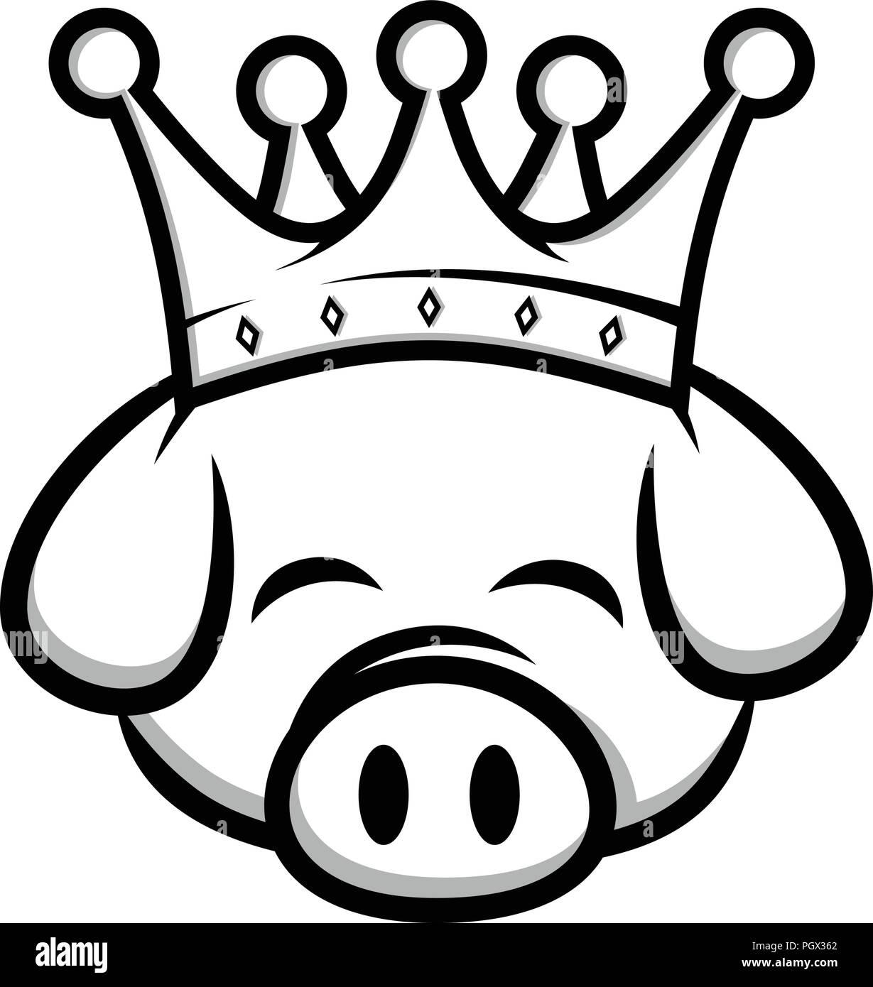 King Pig Crown Pork Bacon Theme Cartoon Vector Stock Vector