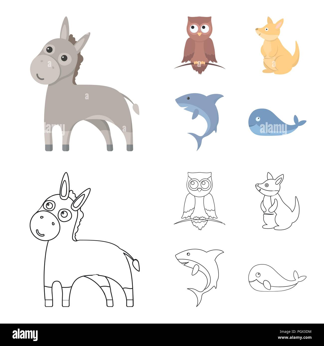 Donkey, owl, kangaroo, shark.Animal set collection icons in cartoon,outline style vector symbol stock illustration . - Stock Image