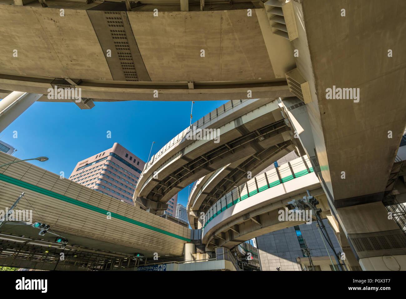 Tokyo, Chuo Ward - August 26, 2018 : Hakozaki Junction. Connects Mukojima Line, Chiba by Komatsugawa Line, and Kanagawa by Fukagawa Line each leading  - Stock Image