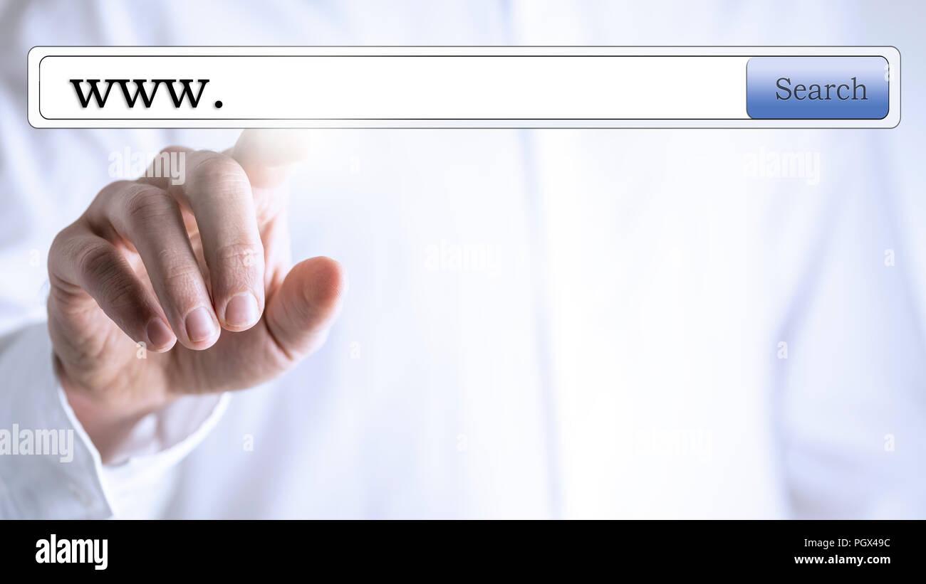 Www in search box on virtual screen. - Stock Image