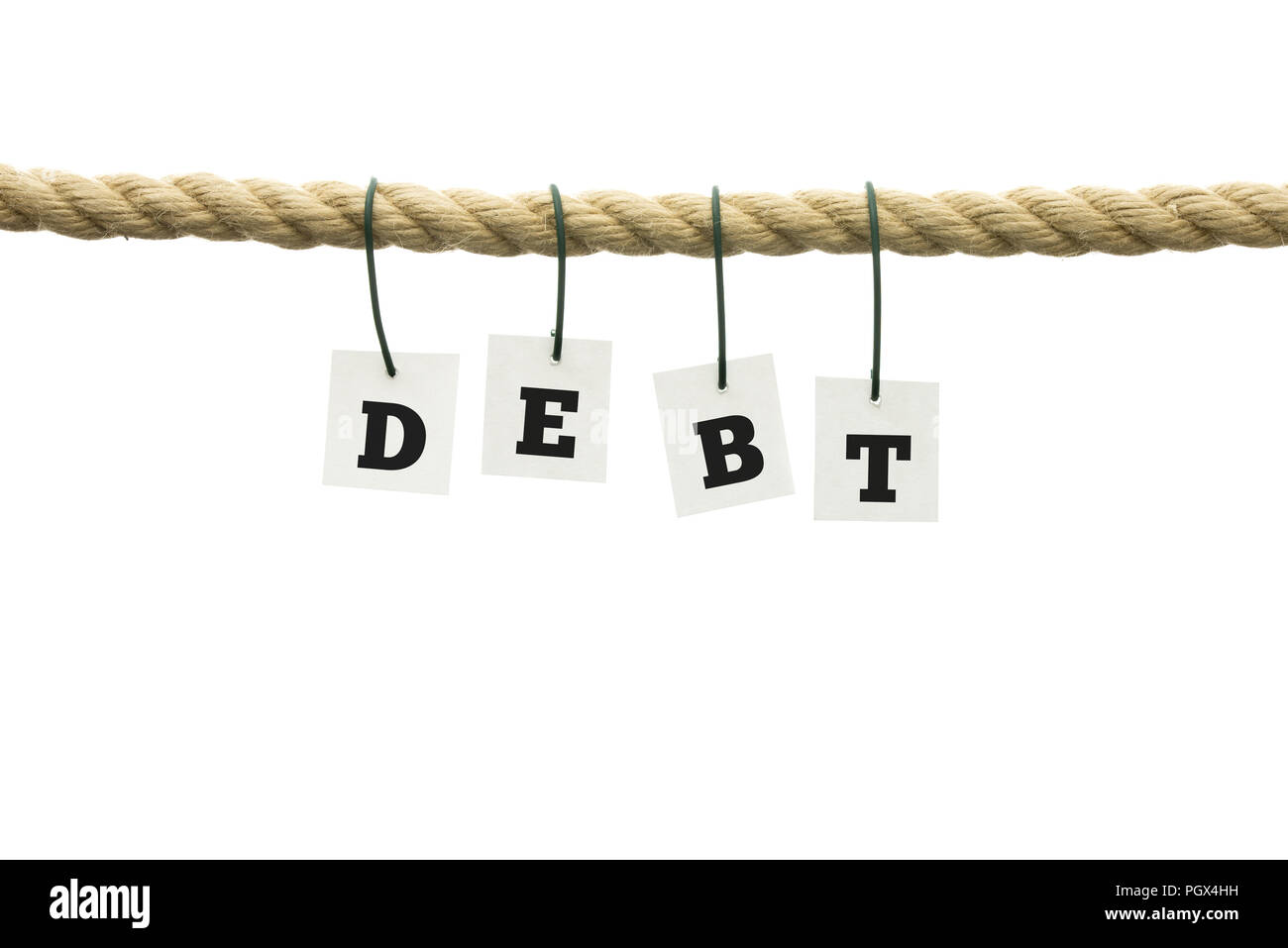 word debt in individual alphabet letters hanging from a rope on wires over a white background with copyspace in a conceptual image