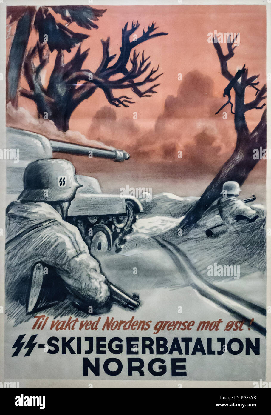 Wartime poster from Nazi-occupied Norway. The poster for an SS ski battalion reads 'On duty at the northern border against the East' (i.e. Russia) - Stock Image