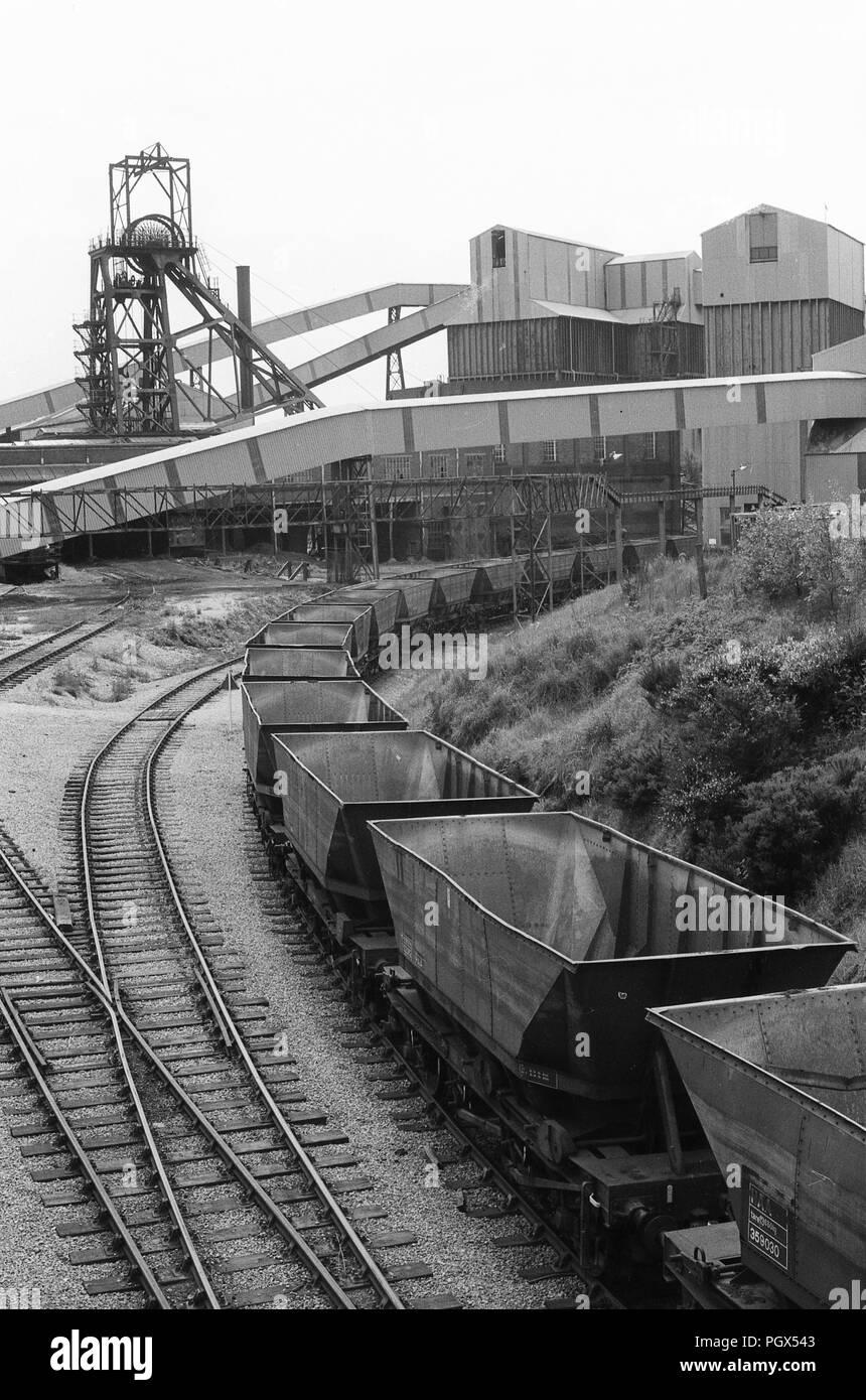 1970's Coal train at Littleton Colliery Coal Mine, Huntington UK - Stock Image