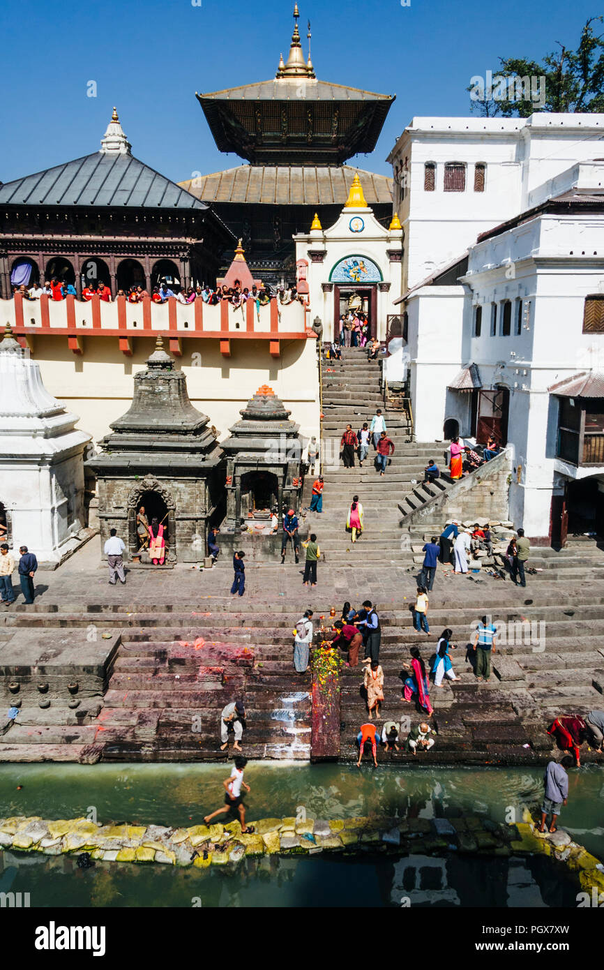 Pashupatinath Temple, Kathmandu Valley, Bagmati, Nepal, South Asia : General view of the Unesco World Heritage temple at Pashupatinath, the holiest pl - Stock Image