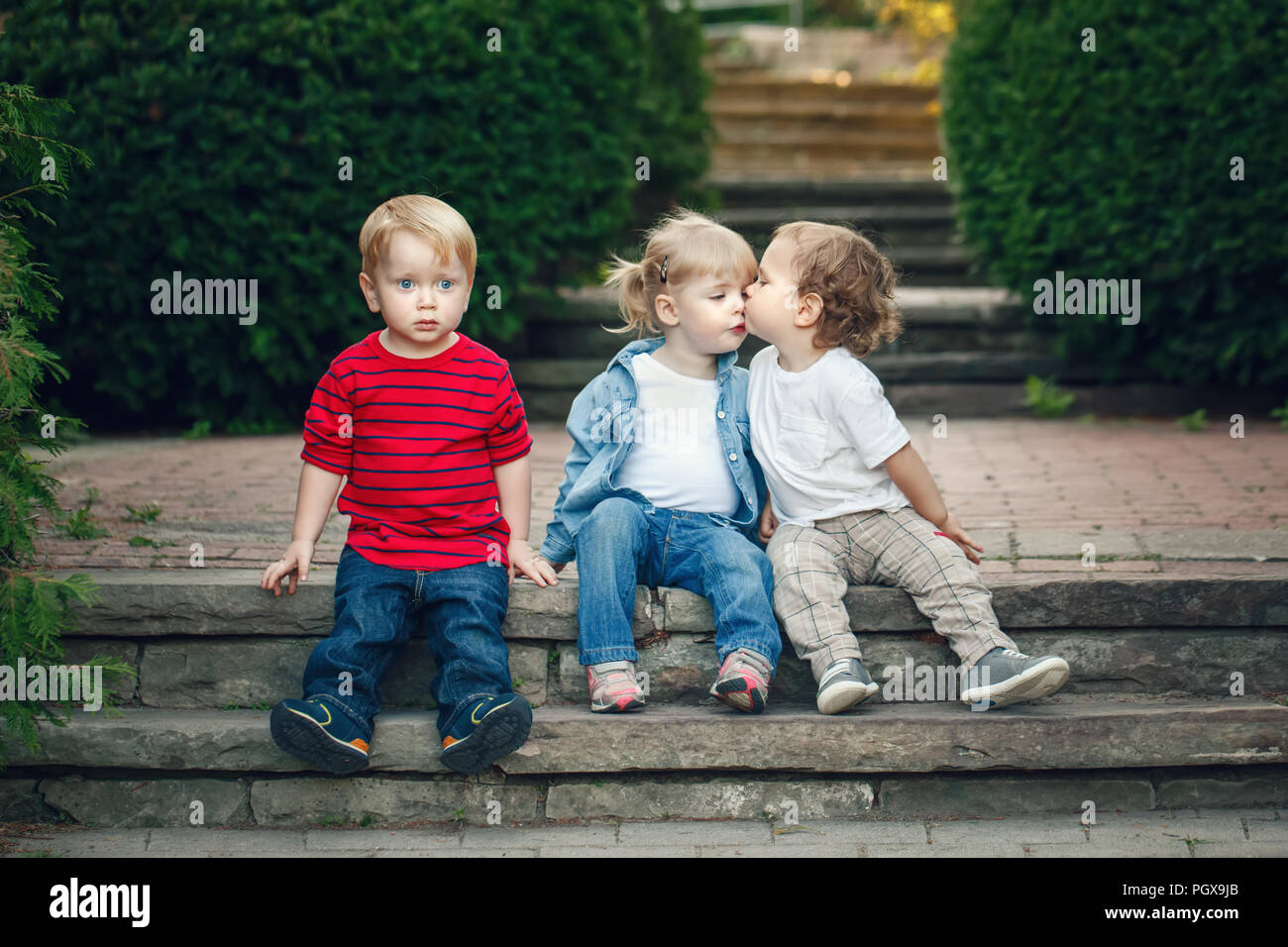 Little Boy And Girl Kissing Stock Photos  Little Boy And -4026