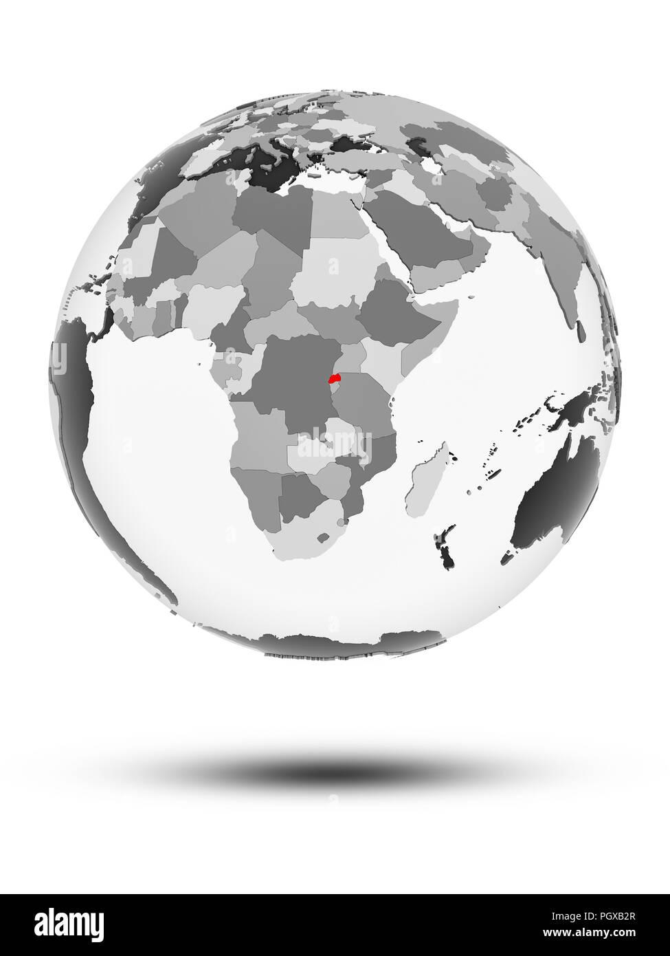 Rwanda on globe with translucent oceans isolated on white background. 3D illustration. - Stock Image