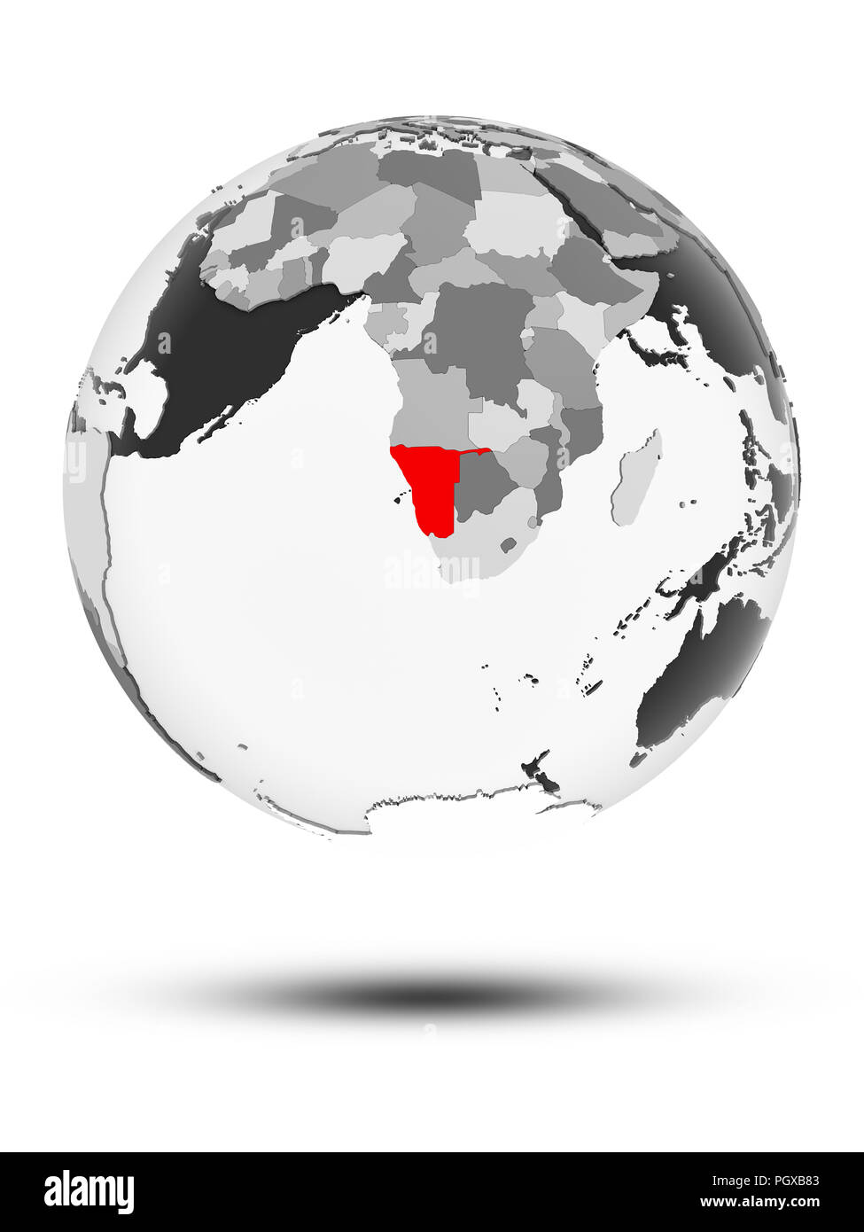 Namibia on globe with translucent oceans isolated on white background. 3D illustration. - Stock Image