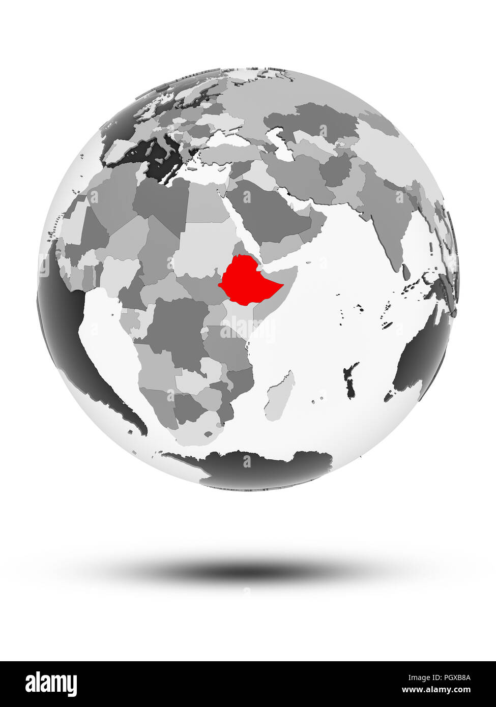 Ethiopia on globe with translucent oceans isolated on white background. 3D illustration. - Stock Image
