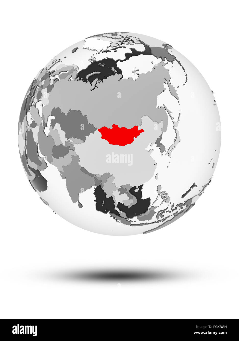 Mongolia on globe with translucent oceans isolated on white background. 3D illustration. - Stock Image