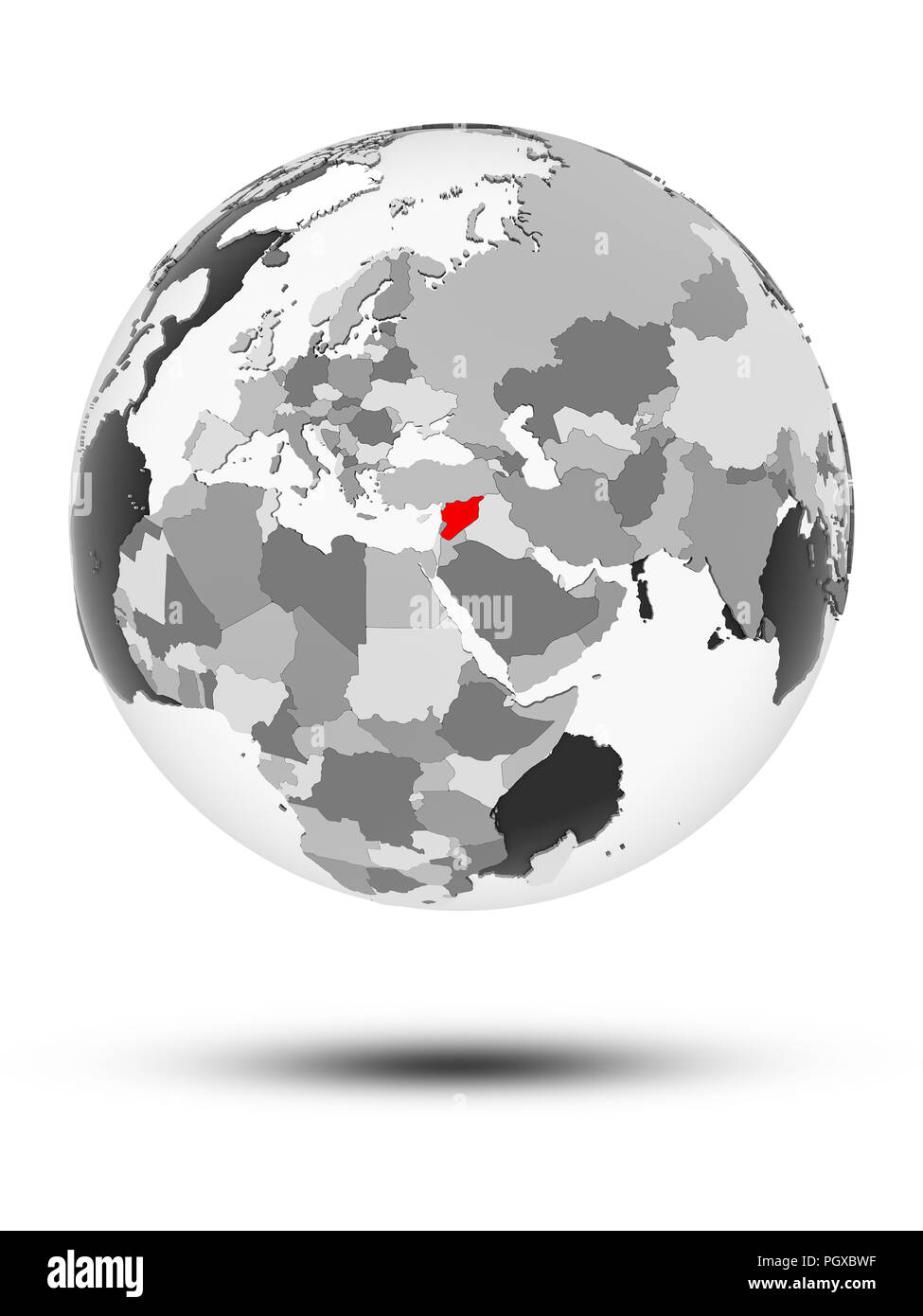 Syria on globe with translucent oceans isolated on white background. 3D illustration. - Stock Image