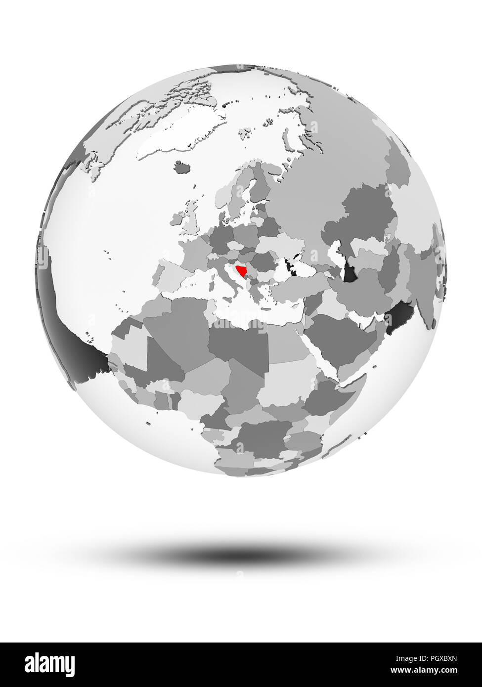 Bosnia and Herzegovina on globe with translucent oceans isolated on white background. 3D illustration. - Stock Image