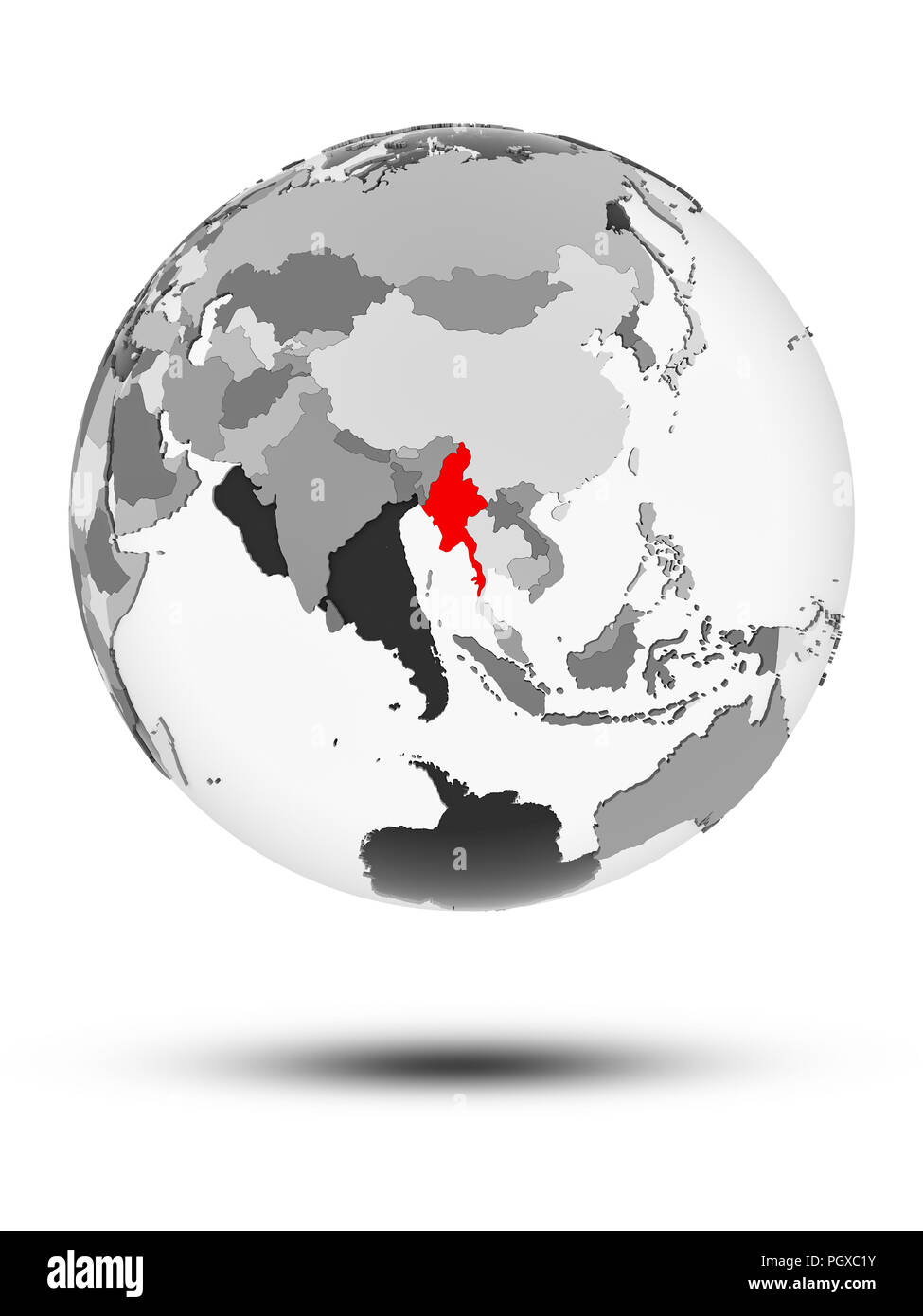 Myanmar on globe with translucent oceans isolated on white background. 3D illustration. - Stock Image