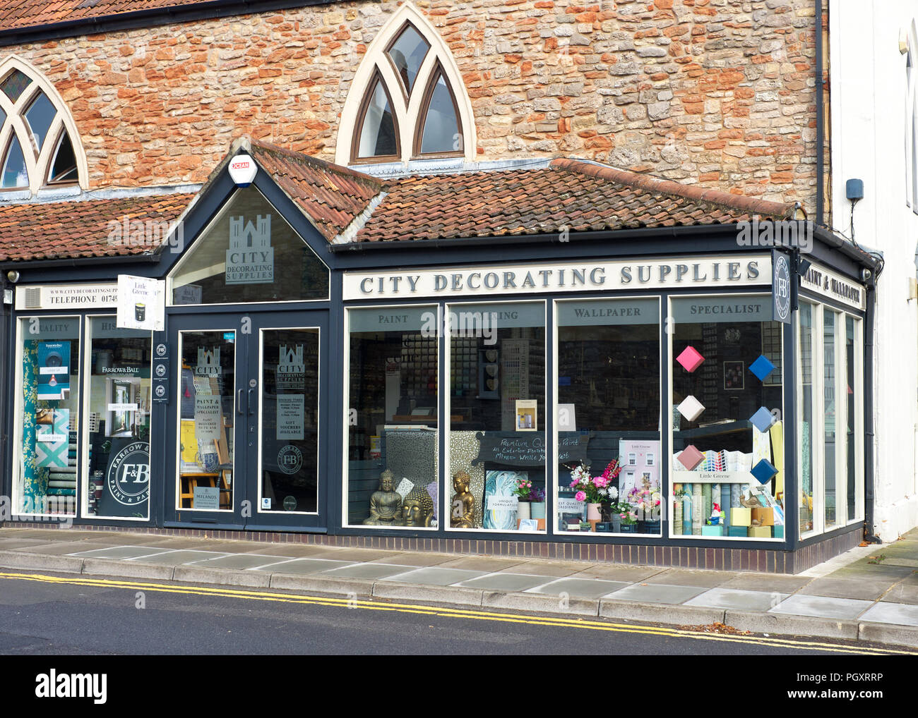 City Decorating Supplies shop front, Wells, Somerset, Uk - Stock Image