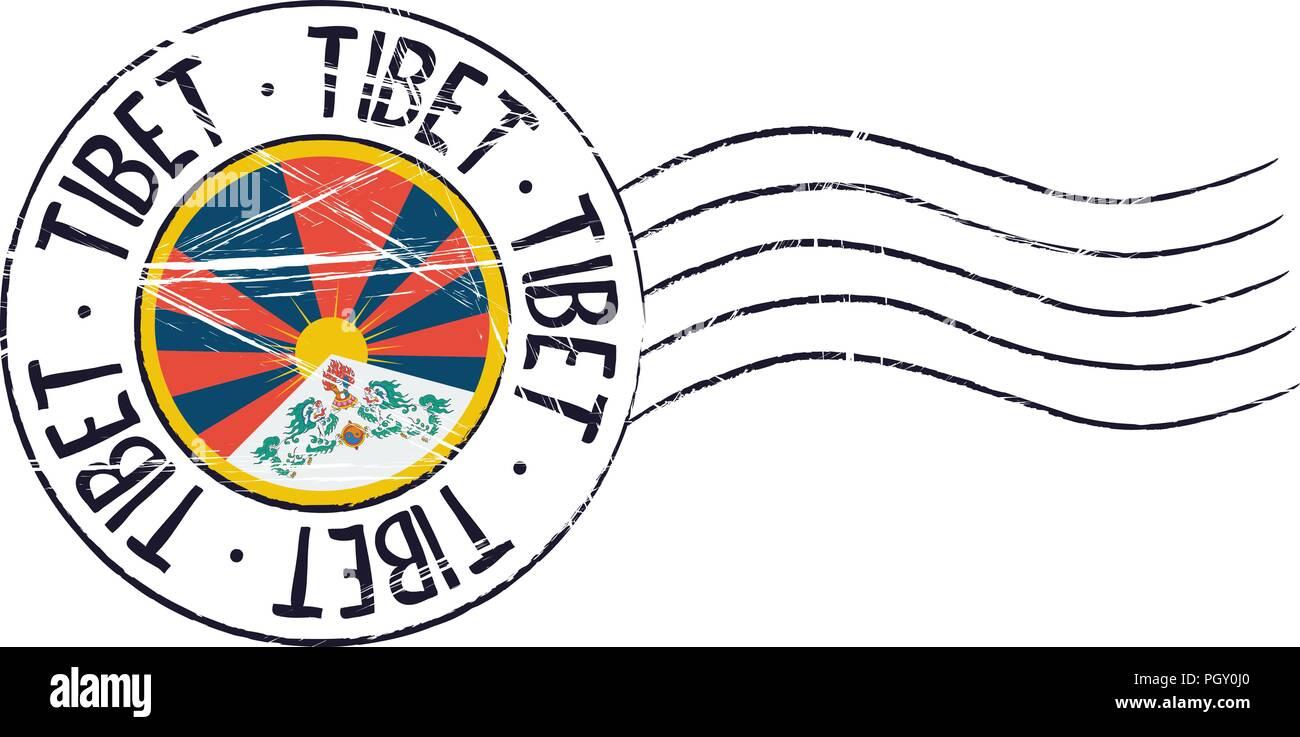 Tibet grunge postal stamp and flag on white background - Stock Vector