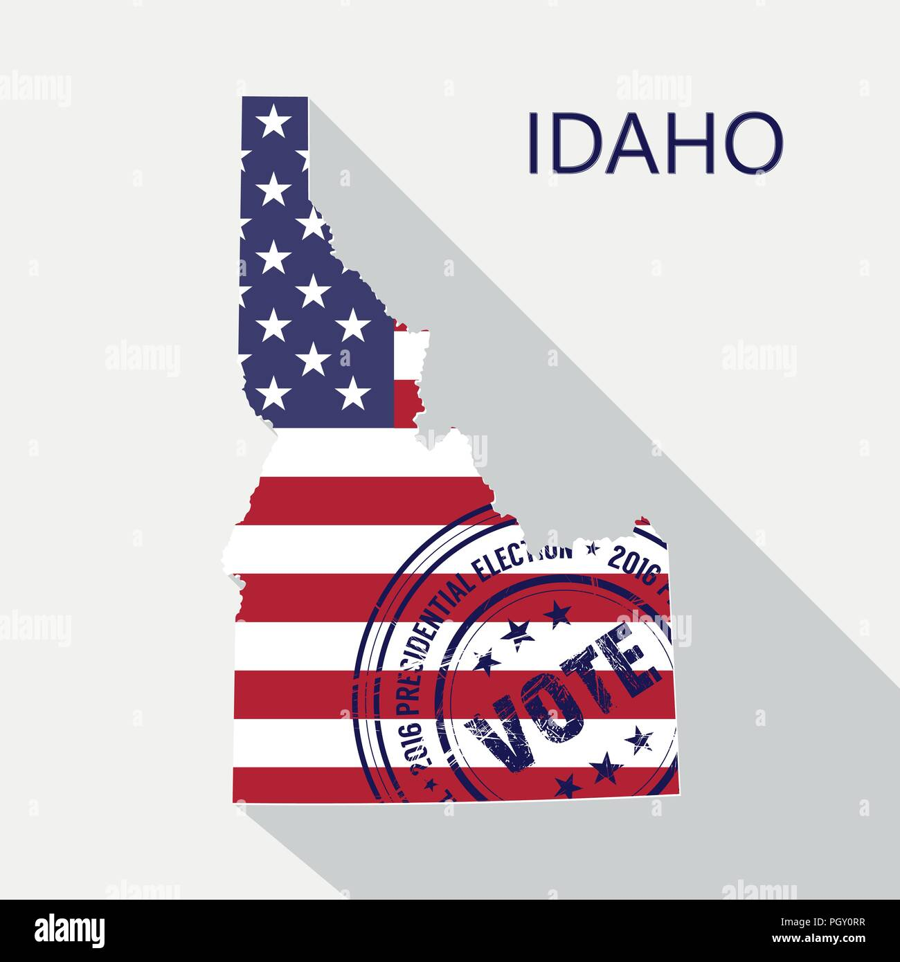 State of Idaho vector graphic map with flag and presidential day vote stamp - Stock Vector