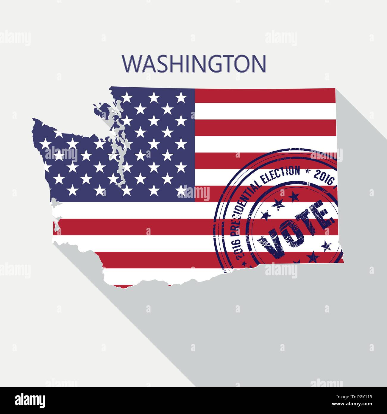 State of Washington vector graphic map with flag and presidential day vote stamp - Stock Vector