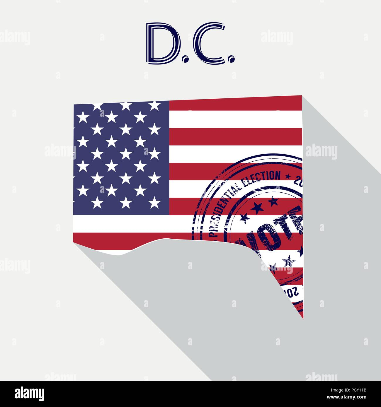 State of Washington, D.C. vector graphic map with flag and presidential day vote stamp - Stock Vector