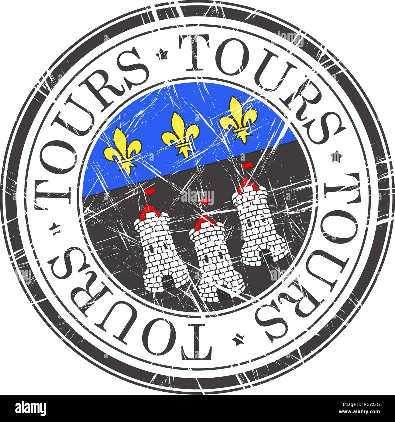Tours city grunge rubber stamp on white - Stock Vector