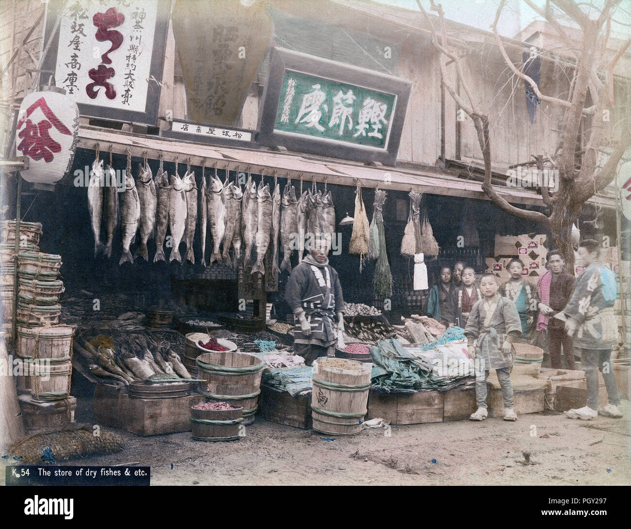 [ c. 1880s Japan - Grocery Store ] —   Matsuzakaya grocery store, probably in Yokohama. One of the signs of this rather large store reads, 'Special Agents for Kanagawa Prefecture.'  The other signs advertise 'Katsuobushi Dokoro' (dried bonito flakes) and 'Sarashikuri Mizuame' (bleached chestnut syrup). There is a great variety of foods on display: salted salmon, seaweed, squid, shrimps, other dried food as well as miso (soybean paste) and tsukemono (pickles). The boys are most likely live-in employees.  19th century vintage albumen photograph. - Stock Image