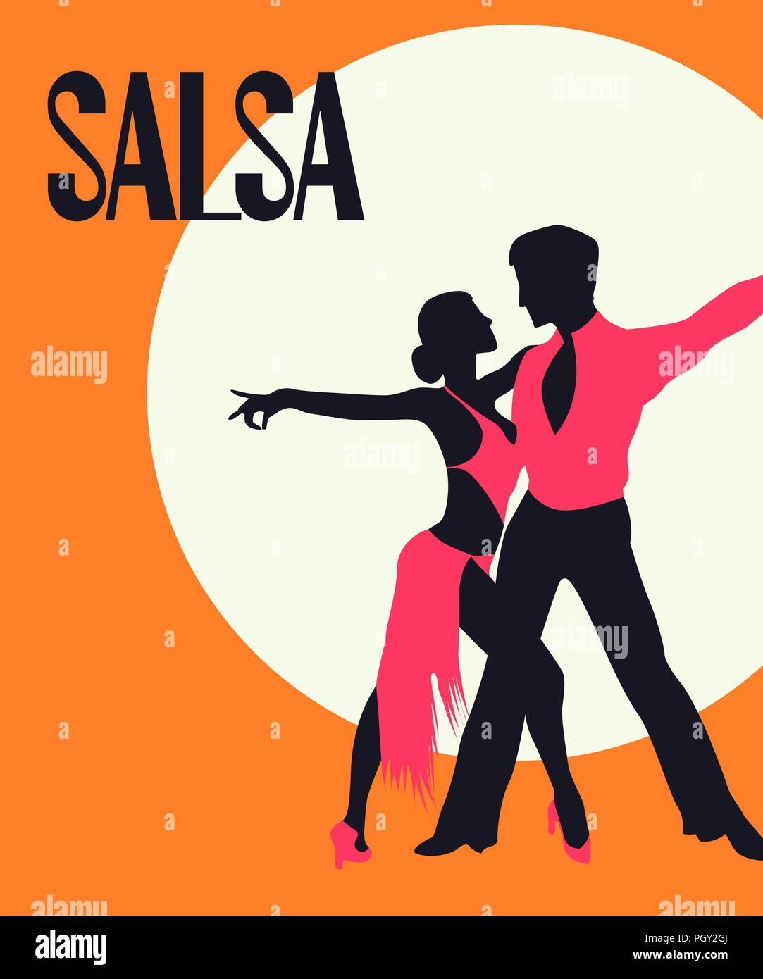 Download Salsa Poster. Elegant couple dancing salsa. Retro style ...