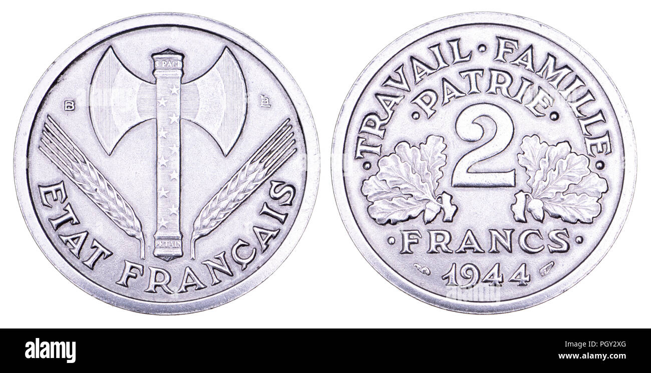 French 2 Franc aluminium coin, 1944, issued by the Vichy French State headed by Marshal Philippe Pétain during German occupation of much of France in  - Stock Image