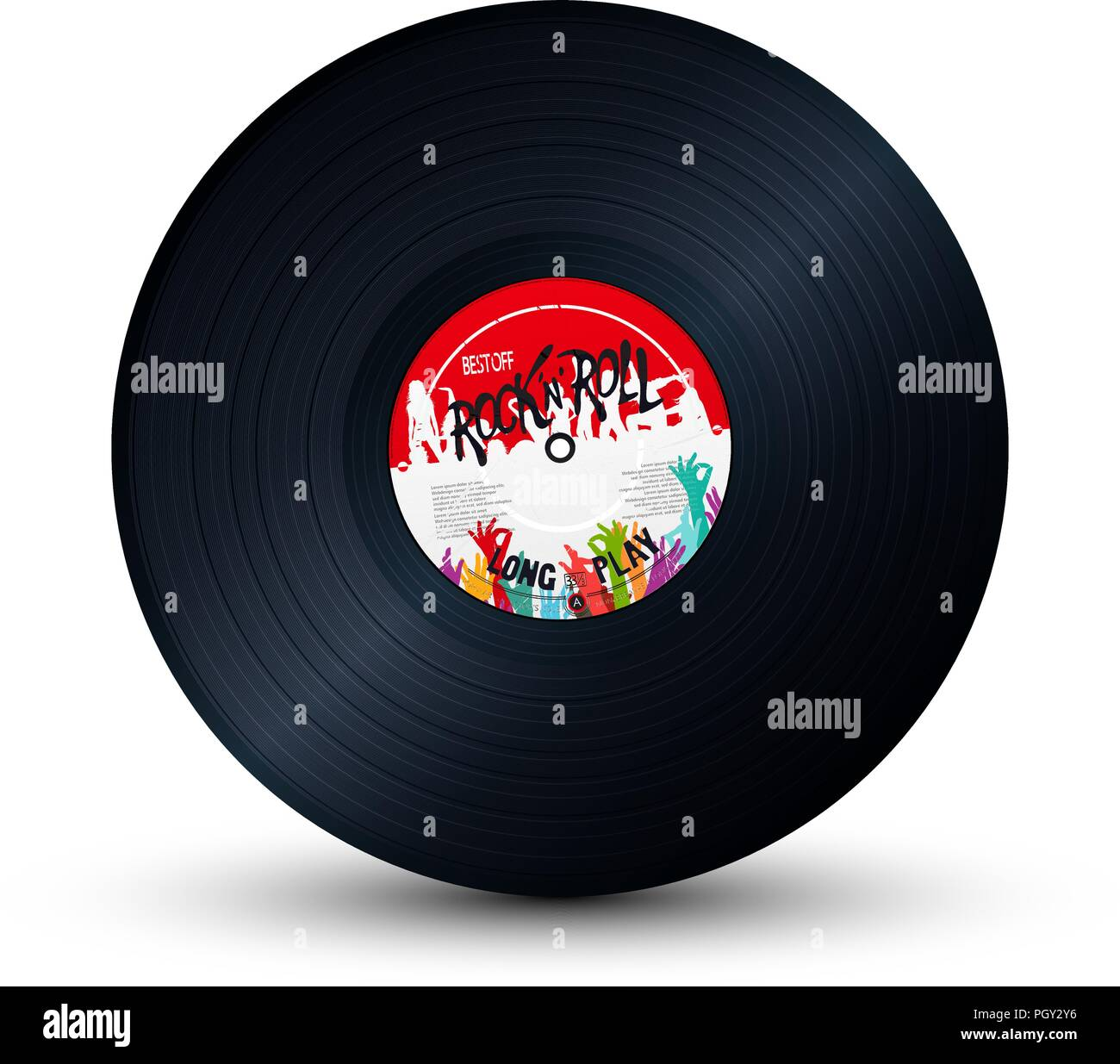 Rock and Roll vinyl record over white background - Stock Image