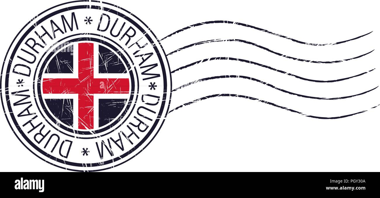 Durham City Grunge Postal Stamp And Flag On White Background Stock