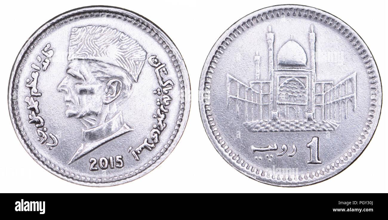 Pakistan 1 Rupee coin (2015) showing the head of Muhammad Ali Jinnah (1876-1948) founder of Pakistan (obverse) and Hazrat Lal Shahbaz Qalandar Mausole Stock Photo