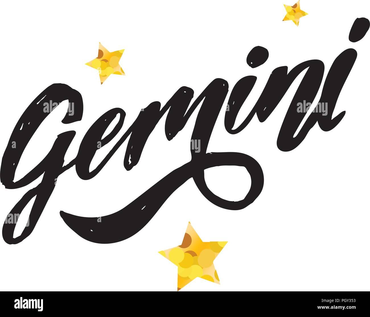 gemini lettering calligraphy brush text horoscope zodiac sign illustration
